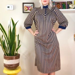 Vintage 70s 80s striped mandarin collar dress M